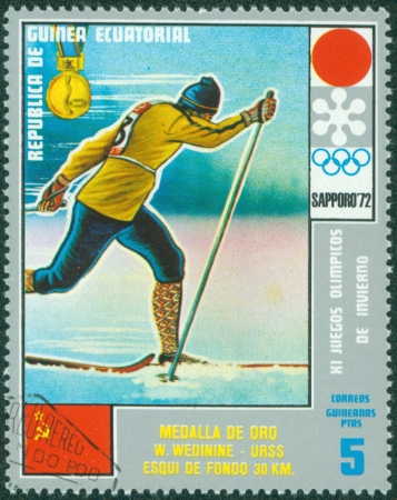 EQUATORIAL GUINEA - CIRCA 1972  stamp printed by Equatorial Guinea, shows Men s Skiing, circa 1972 Stock Photo - 16322539