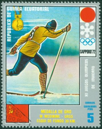 EQUATORIAL GUINEA - CIRCA 1972  stamp printed by Equatorial Guinea, shows Men s Skiing, circa 1972 Stock Photo - 16322539