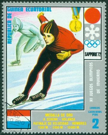 EQUATORIAL GUINEA - CIRCA 1972  stamp printed by Equatorial Guinea, shows Speed Skating, circa 1972 Stock Photo - 16322537