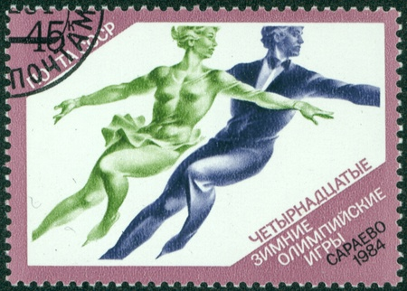 USSR - CIRCA 1984  stamp printed in the USSR  Russia  shows a Figure skating with the inscription and name of series  XIV Winter Olympic Games, Sarajevo,1984  , circa 1984 Stock Photo - 16322536