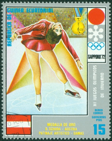 EQUATORIAL GUINEA - CIRCA 1972  stamp printed by Equatorial Guinea, shows ice dancing, circa 1972 Stock Photo - 16322538