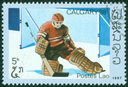 LAOS - CIRCA 1987  stamp printed by Laos, shows Ice hockey, circa 1987