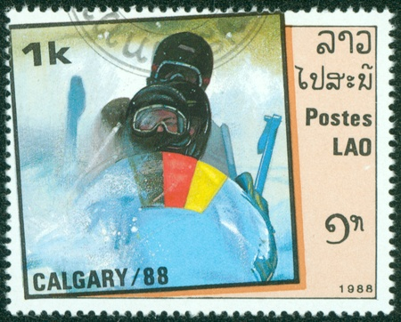 olympian: LAOS - CIRCA 1988  stamp printed by Laos, shows bobsled, circa 1988