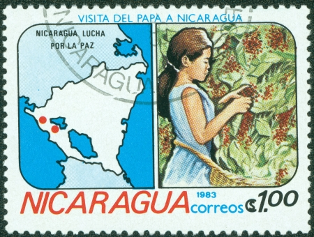 granger: NICARAGUA-CIRCA 1983 A stamp printed in NICARAGUA shows image of agrarian reform, circa 1983