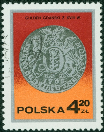 POLAND - CIRCA 1970  A stamp printed in the Poland shows Gulden from Gdansk, series, circa 1970 Stock Photo