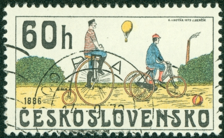 a two wheeled vehicle: CZECHOSLOVAKIA - CIRCA 1979  A Stamp printed in CZECHOSLOVAKIA shows the Bicycles from 1886, series, circa 1979