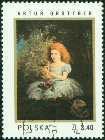 POLAND - CIRCA 1983  A postage stamp printed in the Poland shows painting by Artur Grottger, circa 1983 Stock Photo - 16507236