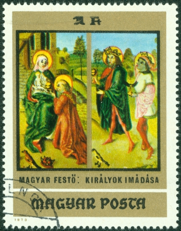 HUNGARY - CIRCA 1973  a stamp printed in the Hungary shows Adoration of the Kings, Painting by Hungarian Anonymous Early Master, from the Christian Museum at Esztergom, circa 1973 Stock Photo - 16507235