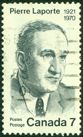 CANADA - CIRCA 1970  stamp printed in Canada shows pierre laporte, circa 1970 Stock Photo - 16507213