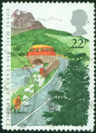 GREAT BRITAIN - CIRCA 1985  A stamp printed in the Great Britain shows Royal Mail Service, 350th Anniversary, circa 1985 photo