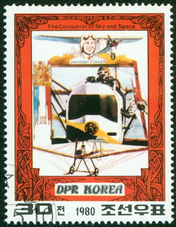 conqueror: DRK Korea - CIRCA 1980  A stamp printed in DRK Korea  North Korea  shows Antony Fokker and his plane, one stamp from series The Conqueror of Sky and Space, circa 1980