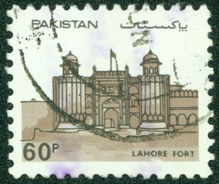 PAKISTAN - CIRCA 1984  A stamp printed in Pakistan shows lahore fort, circa 1984 Stock Photo - 16679755