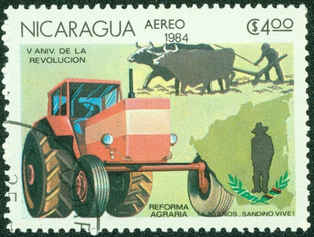 granger: NICARAGUA-CIRCA 1984 A stamp printed in NICARAGUA shows image of agrarian reform, circa 1984