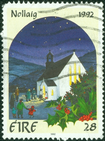 IRELAND - CIRCA 1992  a stamp printed in the Ireland shows Christmas, circa 1992
