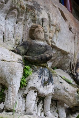 DAZU TOWN CHONGQING CHINA - NOVEMBER 23,2012   Ancient Buddhist Hillside Rock Carvings, Ten Austerities of Liu Benzun - November 23,2012 at Baodingshan temple in Dazu town, Chongqing, China