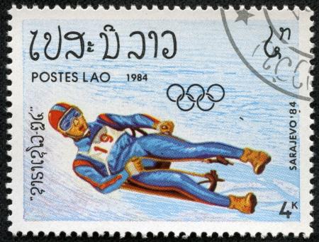 LAOS - CIRCA 1984  stamp printed by Laos, shows athlete, circa 1984  Stock Photo - 17201844