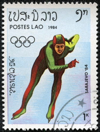 LAOS - CIRCA 1984  stamp printed by Laos, shows skater, circa 1984  Stock Photo - 17201843