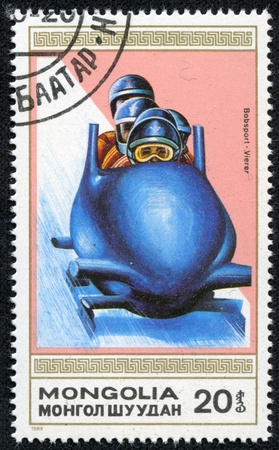 MONGOLIA - CIRCA 1989  stamp printed by Mongolia, shows bobsled, circa 1989 Stock Photo - 17201856