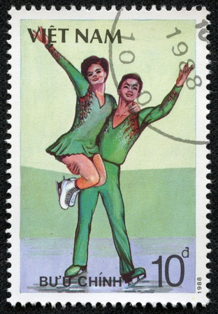 VIETNAM - CIRCA 1988  A stamp printed in VIETNAM shows figure skating, series sport, circa 1988
