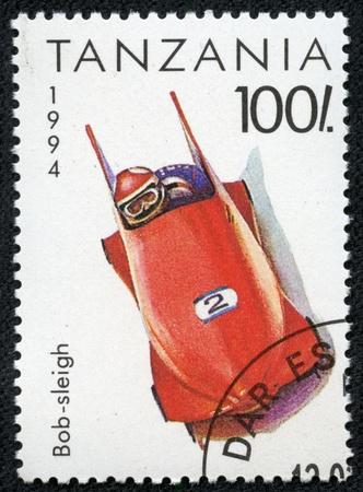 TANZANIA - CIRCA 1994  A stamp printed in TANZANIA shows Olympic Games bob sleigh , circa 1994  Stock Photo - 17201800