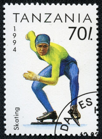 TANZANIA - CIRCA 1994  A stamp printed in Tanzania shows winter sport skating , circa 1994