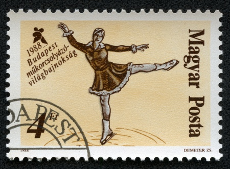HUNGARY - CIRCA 1988  stamp printed by Hungary, shows Figure skating, circa 1988 Stock Photo - 17201789