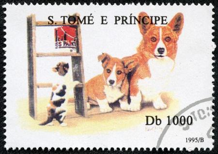 corgi: S  TOME E PRINCIPE - CIRCA 1995  A stamp printed in S  Tome e Principe showing Welsh Corgi dog, circa 1995