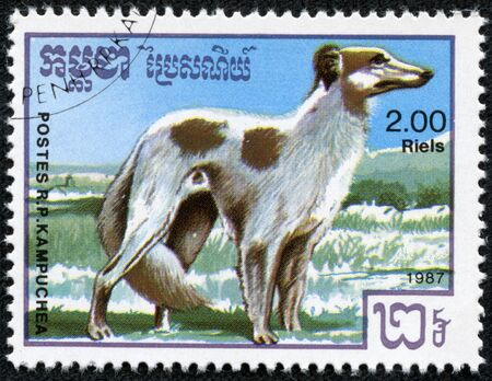 CAMBODIA- CIRCA 1987  stamp printed by Cambodia, shows cute dog hunting circa 1987 Stock Photo - 17199288