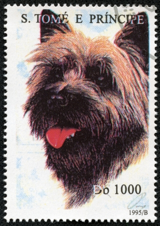 S  TOME E PRINCIPE - CIRCA 1995  A stamp printed in the S  Tome e Principe, depicts a dog Cairn Terrier, circa 1995 Stock Photo - 17200082