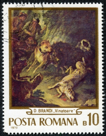 ROMANIA - CIRCA 1970  stamp printed by Romania, shows hunting dogs, circa 1970