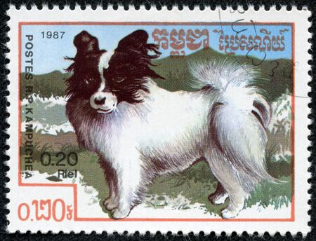 CAMBODIA- CIRCA 1987  stamp printed by Cambodia, shows cute dog circa 1987 photo