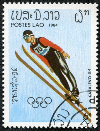 LAOS - CIRCA 1984  stamp printed by Laos, shows Winter Olympic Games Sarajevo-1984, circa 1984  Stock Photo - 17261702