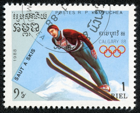 CAMBODIA - CIRCA 1988  stamp printed by Cambodia, shows ski jumping, series Olympic Games in Calgary 1988, circa 1988  Stock Photo - 17261689