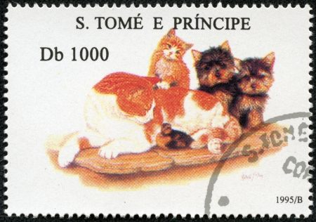S  TOME E PRINCIPE - CIRCA 1995  A stamp printed in S  Tome e Principe showing dog and cats, circa 1995 Stock Photo - 17261695
