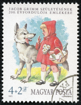 HUNGARY - CIRCA 1985  A stamp printed in Hungary shows Little Red Riding Hood and the Wolf, circa 1985