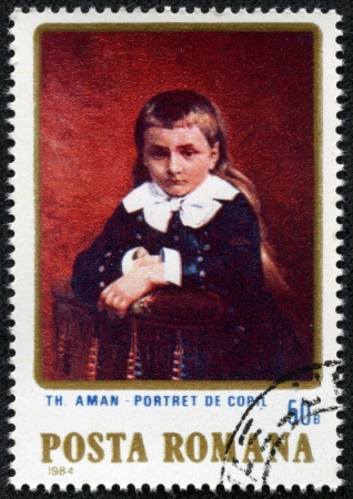 ROMANIA - CIRCA 1984  a stamp printed in Romania shows Portrait of Child, by T  Aman, circa 1984  Stock Photo - 17261657
