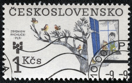 puerile: CZECHOSLOVAKIA - CIRCA 1983  A stamp printed in CZECHOSLOVAKIA shows the painting of a Zbigniew Rychlicki, Poland, from the series  9th Biennial of Illustrations for Children and Youth , circa 1983