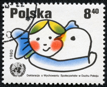 POLAND - CIRCA 1980  A stamp printed in POLAND shows Declaration on Education in the Spirit of Peace, from series, circa 1980 Stock Photo - 17249471