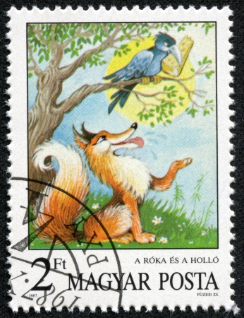 HUNGARY - CIRCA 1987  A stamp printed by Hungary shows the Fox and the Crow, Aesops Fables, Fairy Tales series, circa 1987