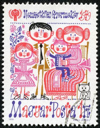 HUNGARY - CIRCA 1979  stamp printed by Hungary, shows Family, circa 1979 Stock Photo - 17249839