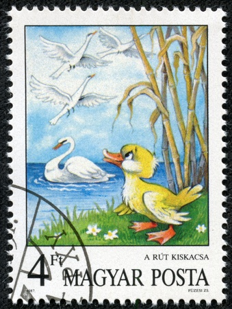 ugly duckling: HUNGARY - CIRCA 1987  A stamp printed by Hungary shows the Ugly Duckling, by Hans Christian Andersen, Fairy Tales series, circa 1987