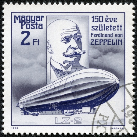 graf: HUNGARY - CIRCA 1988  stamp printed by Hungary, shows Count Ferdinand von Zeppelin, circa 1988