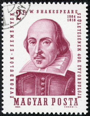 HUNGARY - CIRCA 1964  A stamp printed in Hungary shows image of William Shakespeare  1564-1616 , the playwright, circa 1964 Stock Photo - 17261651