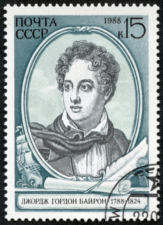 fop: USSR - CIRCA 1988  A stamp printed in USSR shows a drawing of Lord Byron, circa 1988