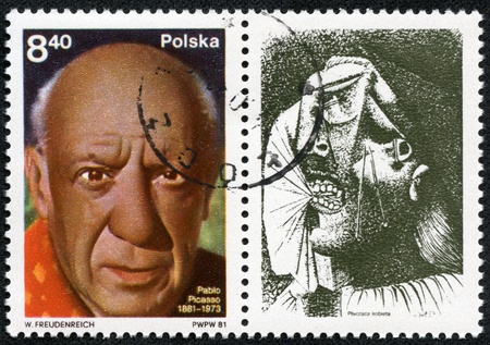 POLAND - CIRCA 1981  A stamp printed in Poland shows Pablo Picasso was a Spanish painter and sculptor, circa 1981