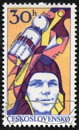yuri: CZECHOSLOVAKIA - CIRCA 1977  A stamp printed in Czechoslovakia, shows Yuri Gagarin, Soviet cosmonaut, first man in space, circa 1977