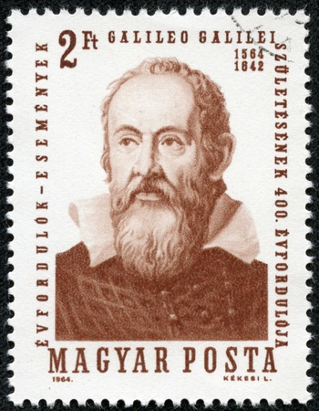 HUNGARY - CIRCA 1964  A stamp printed by Hungary, shows Galileo Galilei  1564-1642 , issued for the 400th birth anniversary, circa 1964 Stock Photo - 17261652