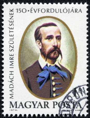 magyar: HUNGARY - CIRCA 1973  A stamp printed in Hungary shows portrait of writer, poet, lawyer and politician Imre Madach, with the same inscription, from the series  Imre Madach , circa 1973
