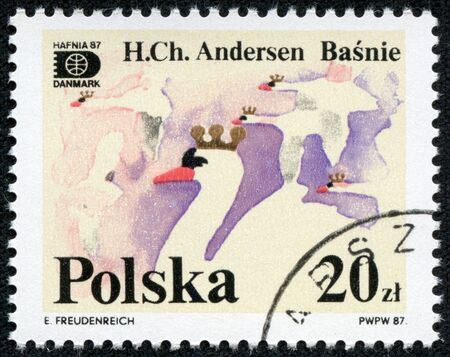 POLAND - CIRCA 1987  The stamp printed in Poland shows a swan from the fairy-tale of Andersena, circa 1987 photo