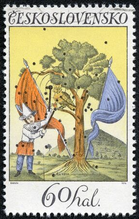 pierrot: CZECHOSLOVAKIA - CIRCA 1974  A stamp printed in Czechoslovakia, shows landscape with Pierrot and flags 1828, circa 1974